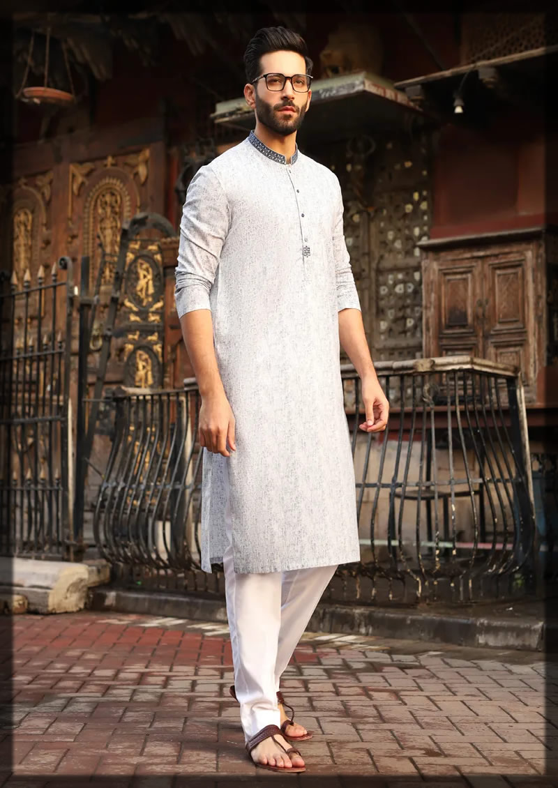 smoke blue semi-formal kurta