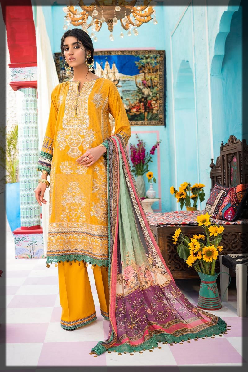 sunshine yellow embroidered lawn suit
