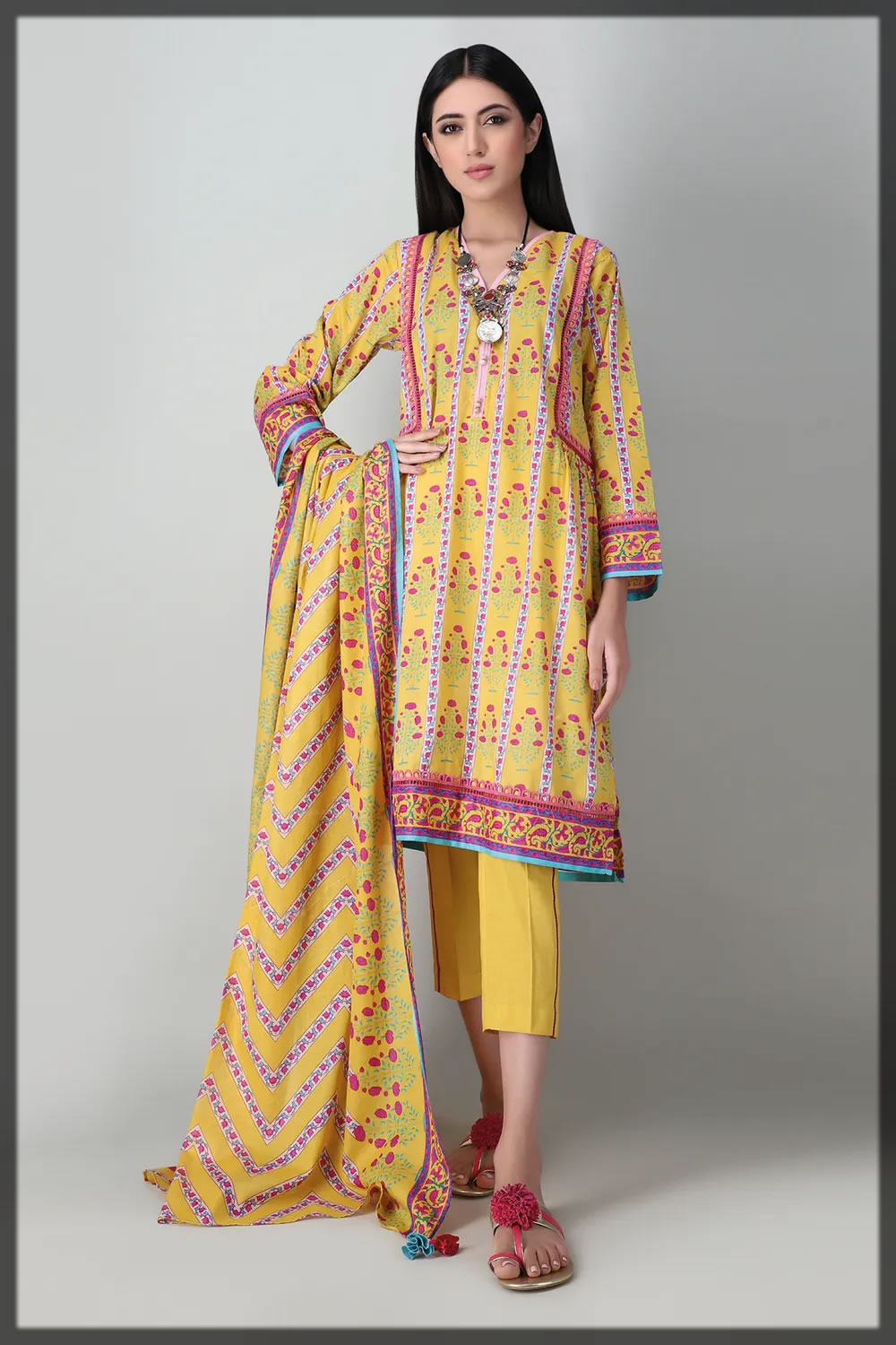 sunshine yellow printed lawn suit