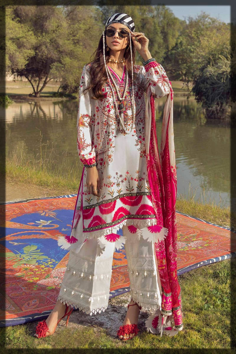 whiite and red summer lawn dress