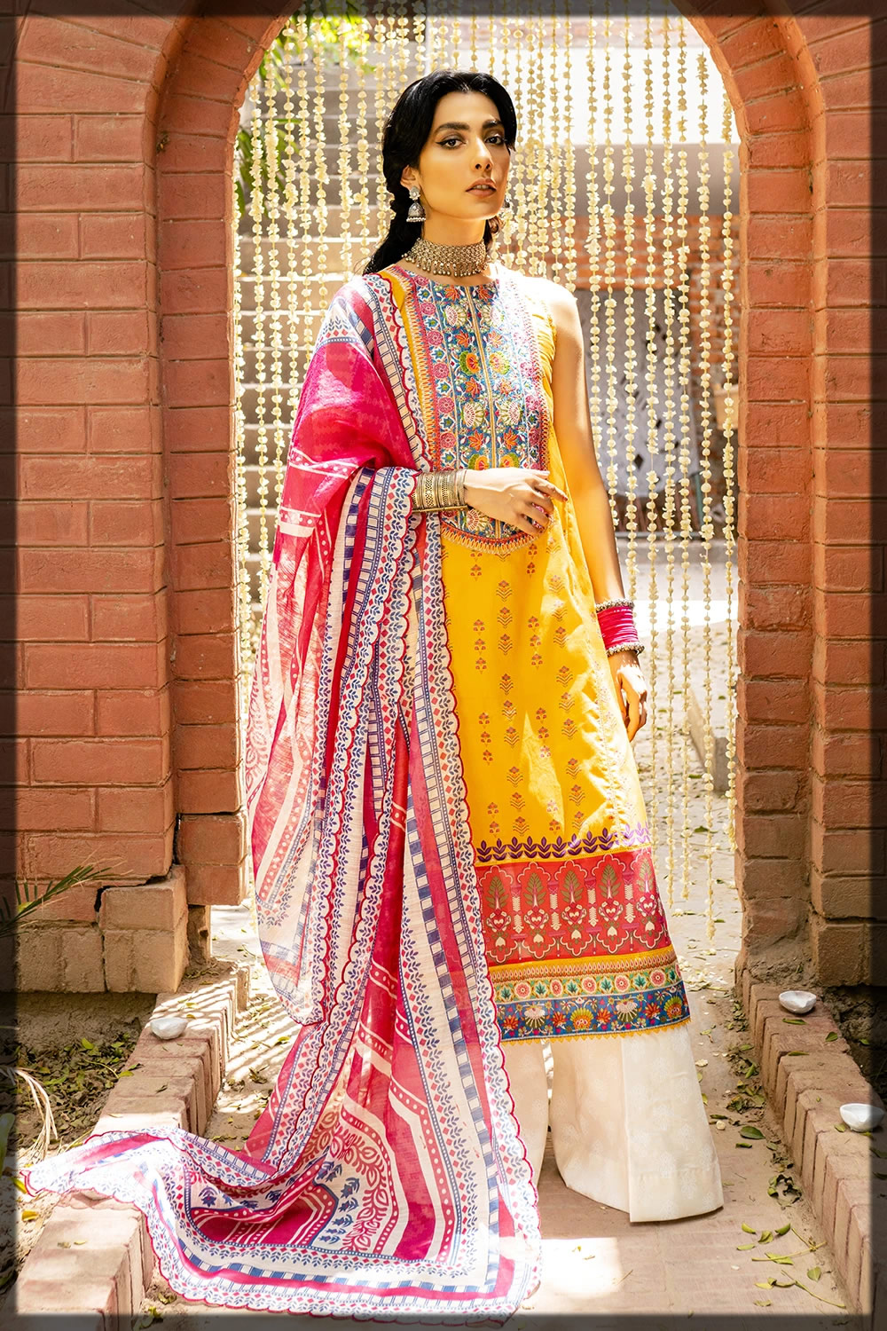 yellow embroidered eid dress