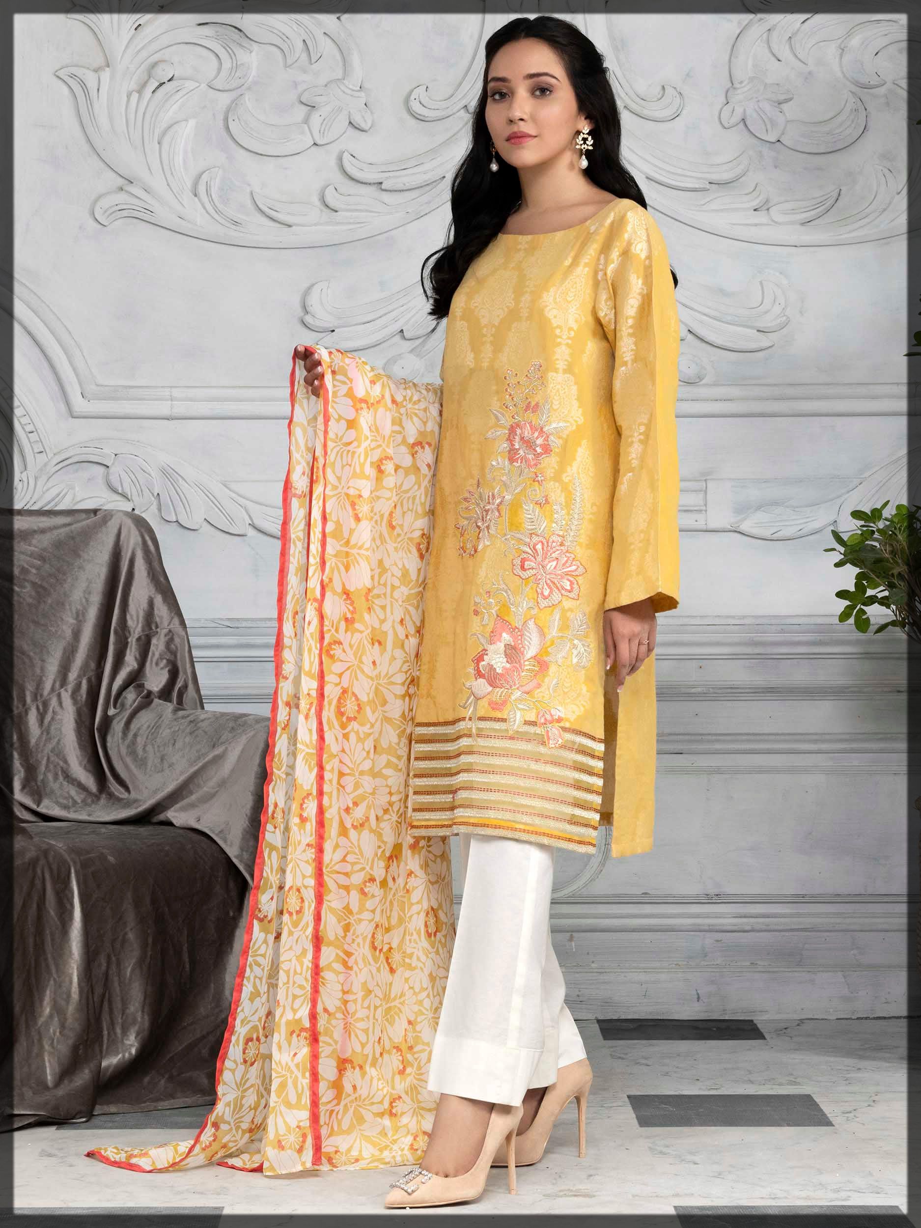 yellow embroidered jacquard suit