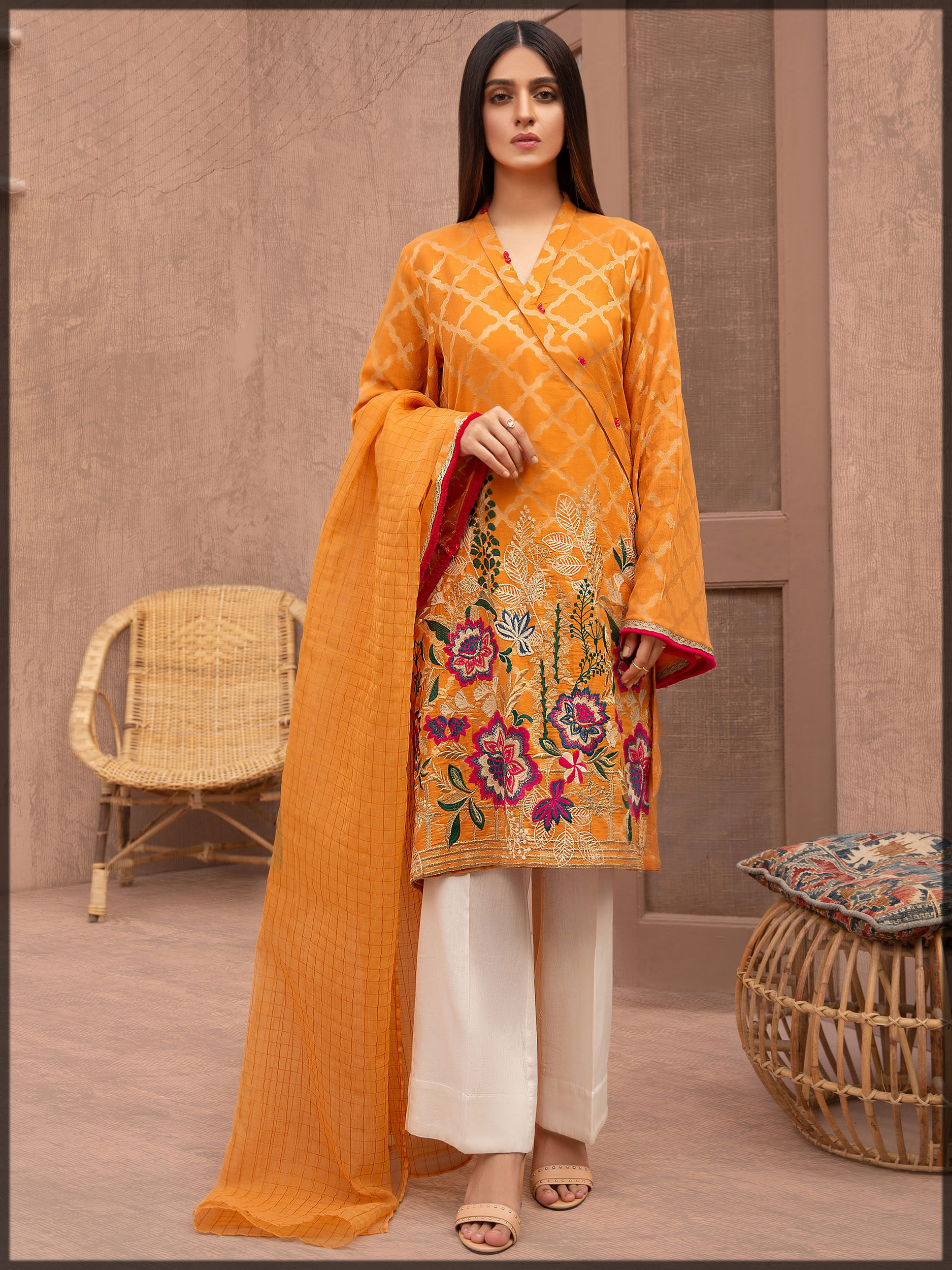 yellow embroidered lawn suit