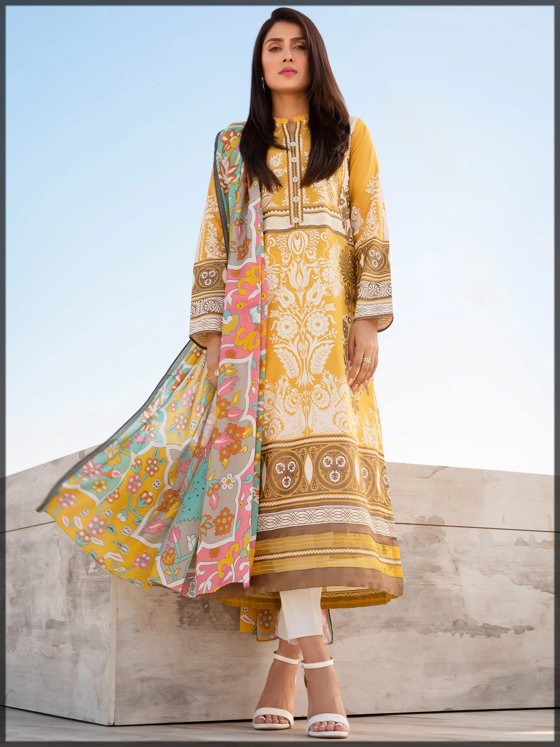 yellow lawn suit for women