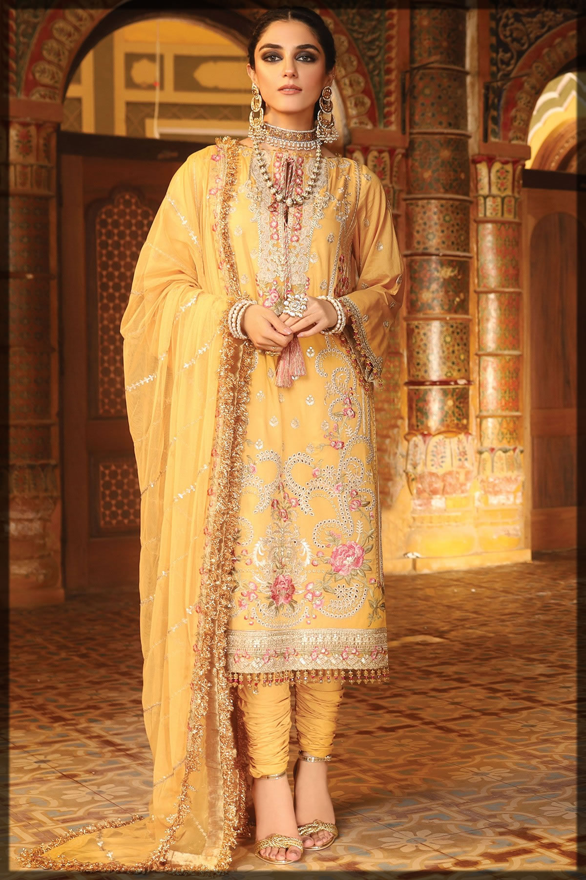 yellow luxury embroidered suit