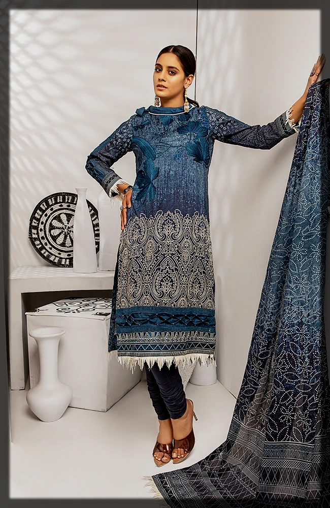 3 Piece Embroidered Digital Printed Lawn Dress