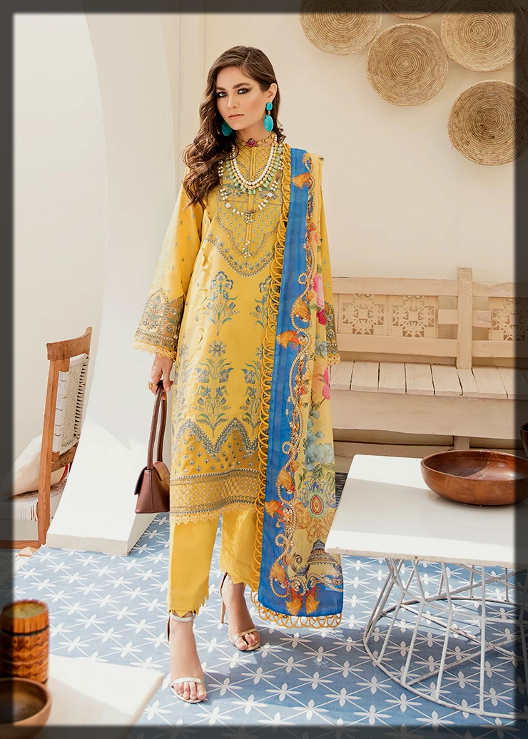 Appealing Yellow and Blue Lawn Embroidered Suit