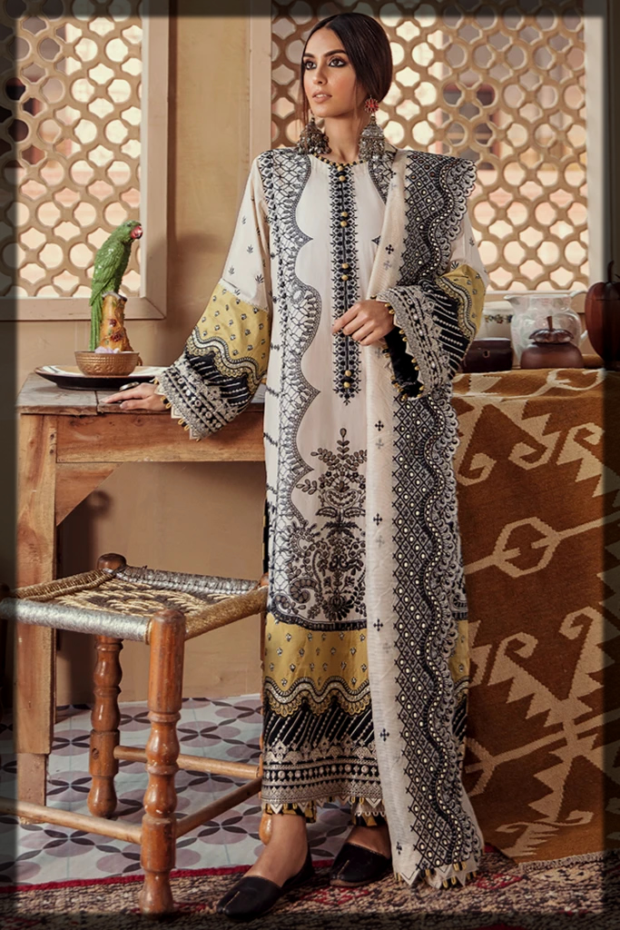 Black and White Lawn Suit with Net Dupatta