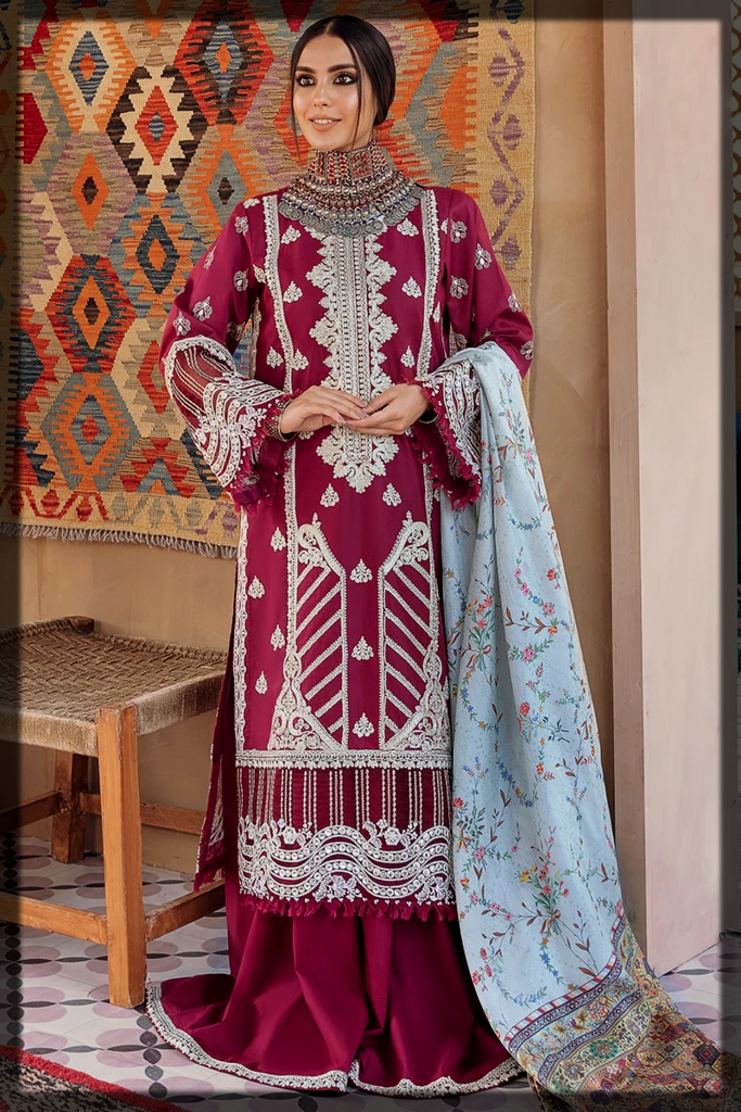 Classy Maroon Three-Piece Unstitched Suit with Silver Embroidered