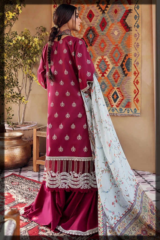 Classy Maroon Three-Piece Unstitched Suit
