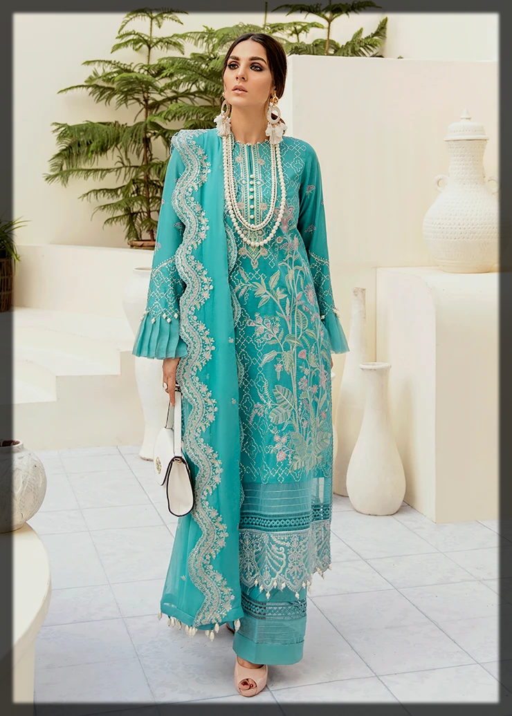Dazzling Afrozeh Summer Embroidered Suit for Women