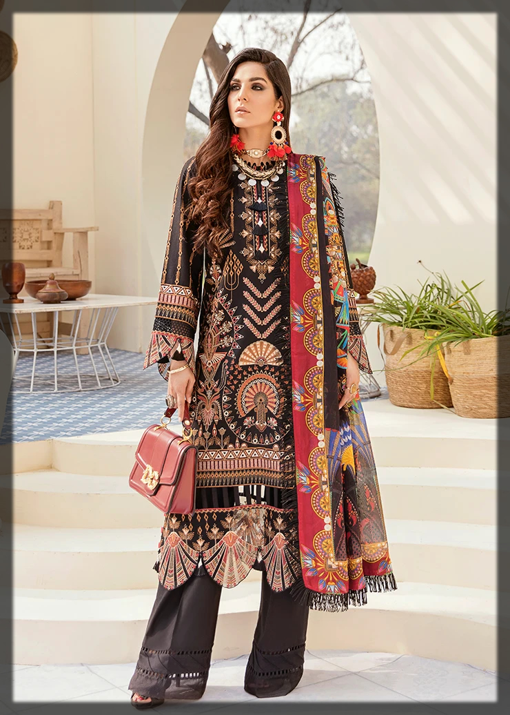 Dazzling Afrozeh Summer Embroidered Suit