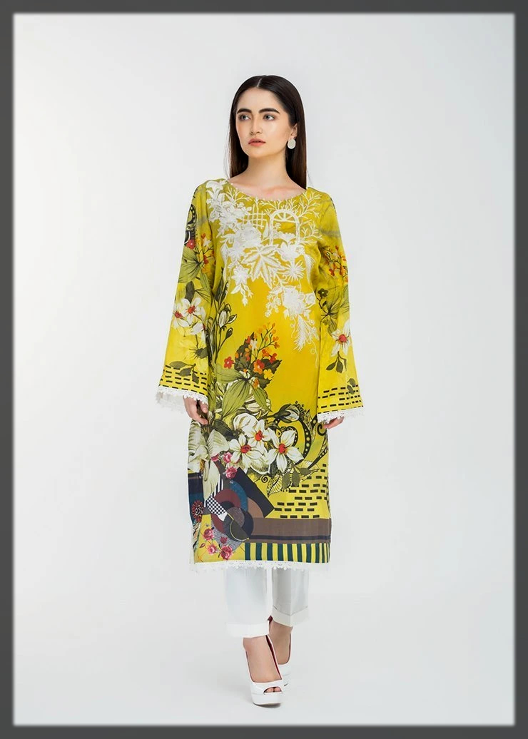 Digital Printed Lawn Shirt with Embroidered Neckline