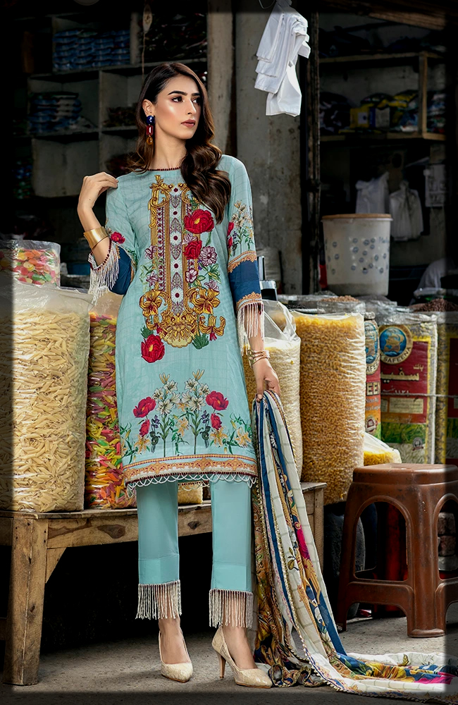 Embroidered Digital Printed Lawn Dress with lawn dupatta