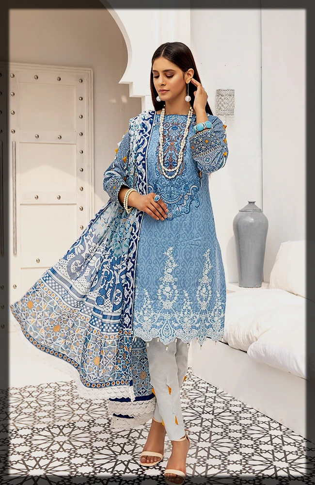 Embroidered Digital Printed Lawn Dress