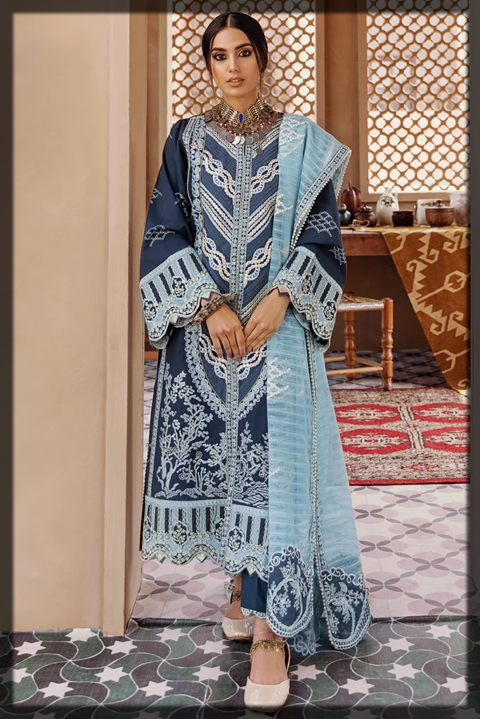 Gotta Embroidered Suit with Foam Printed Dupatta