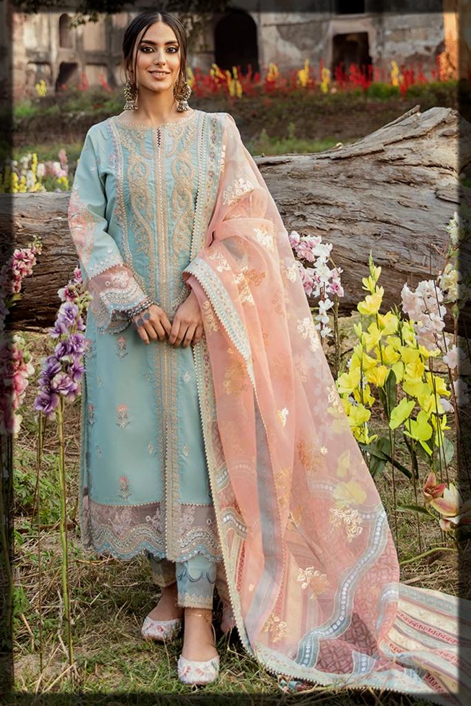 Impressive Sky Blue QalamKar Luxury Lawn Suit