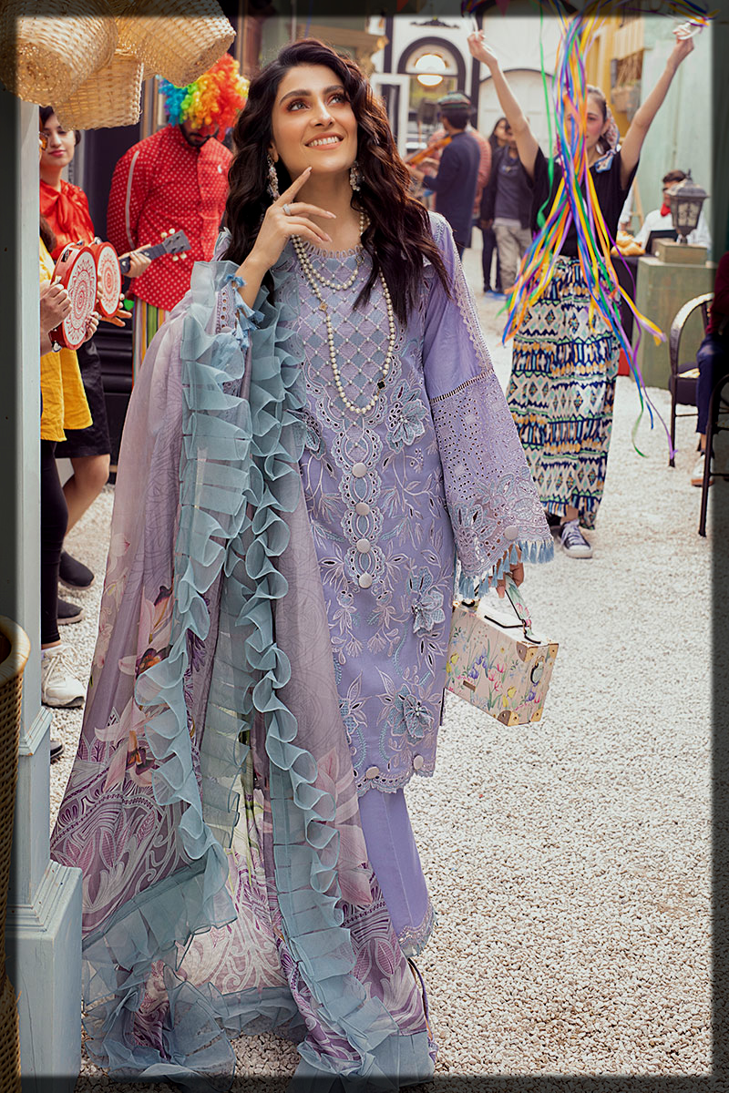 Lavender Chikan and LaserCut Embroidered Suit