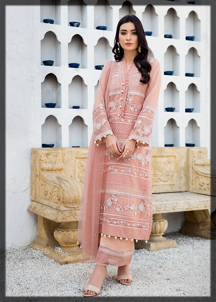Lovely Pink Organza Suit with Raw Silk Trouser