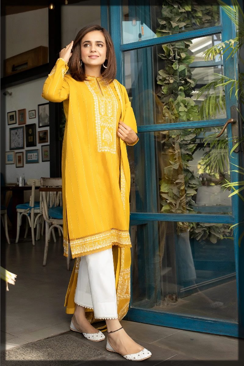 Marigold Ethnic Embroidered Lawn Dress