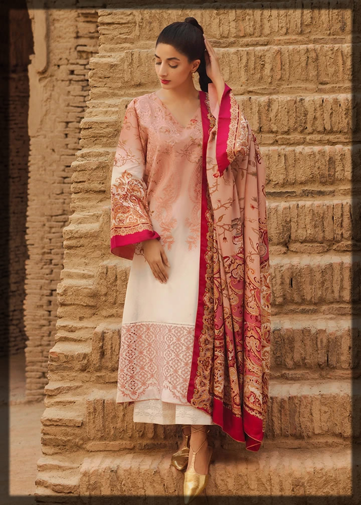 Persimmon embroidered lawn suit