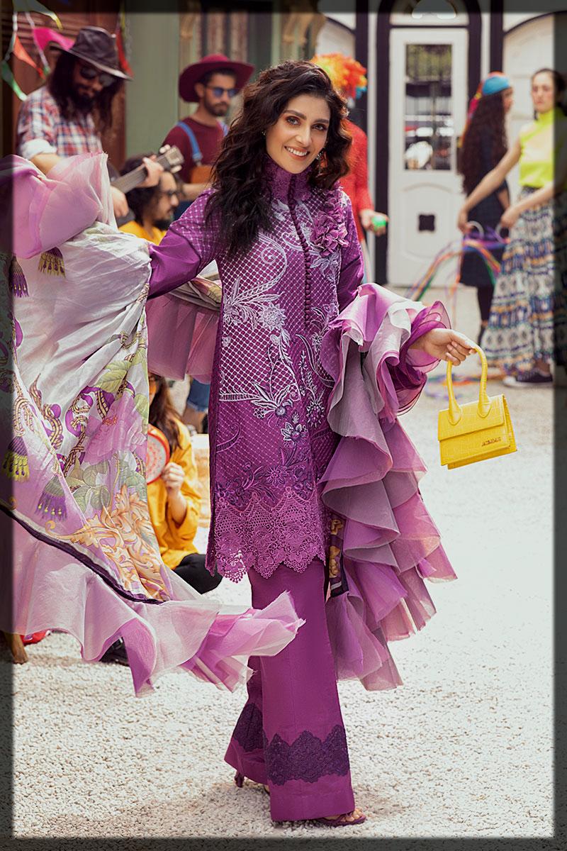 Purple 3PC Unstitched Luxury Lawn Suit by Mushq