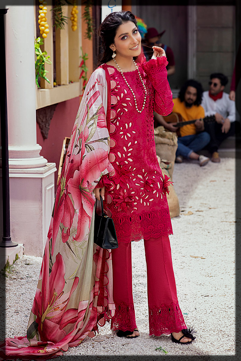 Ruby Red 3PC Unstitched Luxury Lawn Suit by Mushq