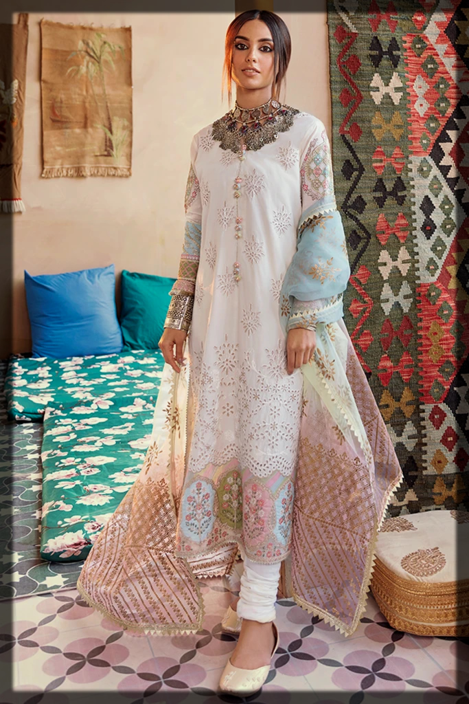 Schiffli Embroidered Outfit with Organza Dupatta