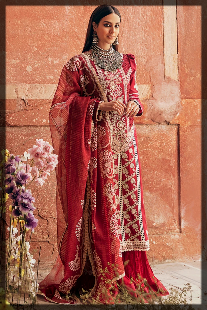 Schiffli and Sheesha Embroidered Summer Lawn Suit
