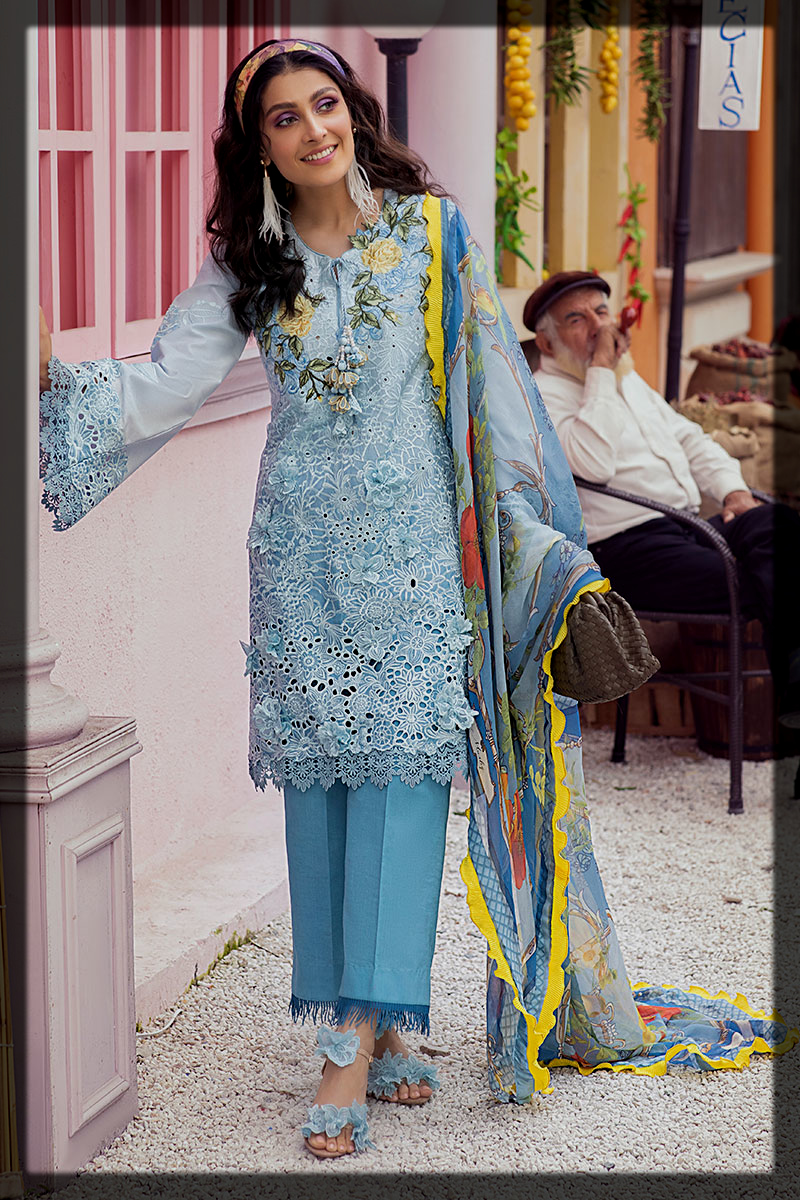 Striking Blue Summer Lawn Suit with Lazercut Embroidery