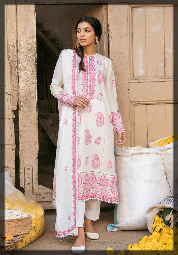 WHITE AND PINK LAWN DRESS