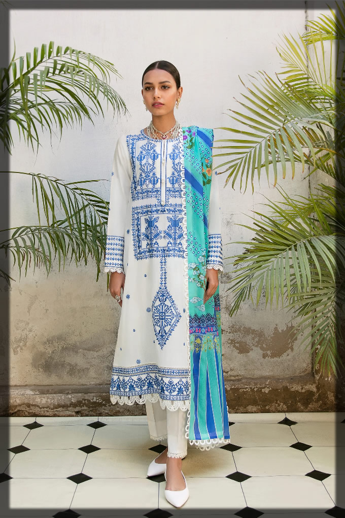 WHITE and blue lawn dress