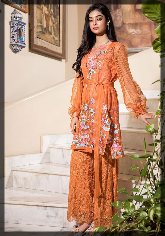 amber flame summer dress by Nilofer Shahid Luxury Lawn