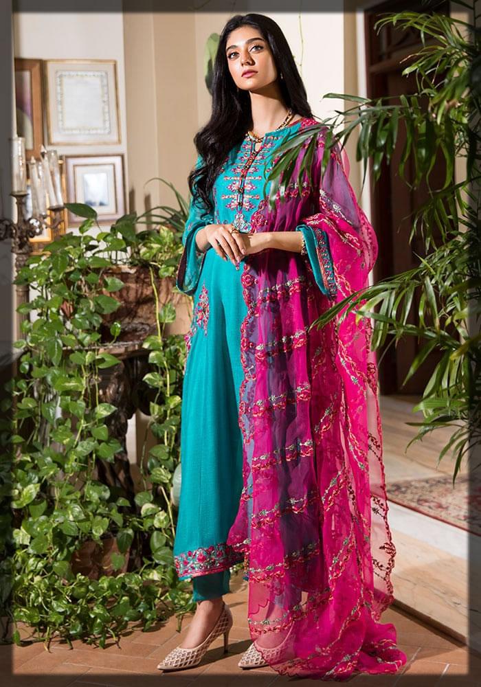 aqua and shocking pink in Nilofer Shahid Luxury Lawn