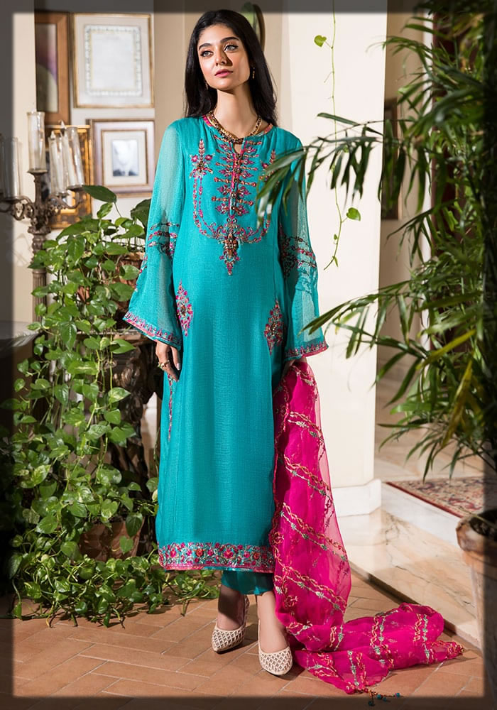 aqua embroidered from Nilofer Shahid Luxury Lawn