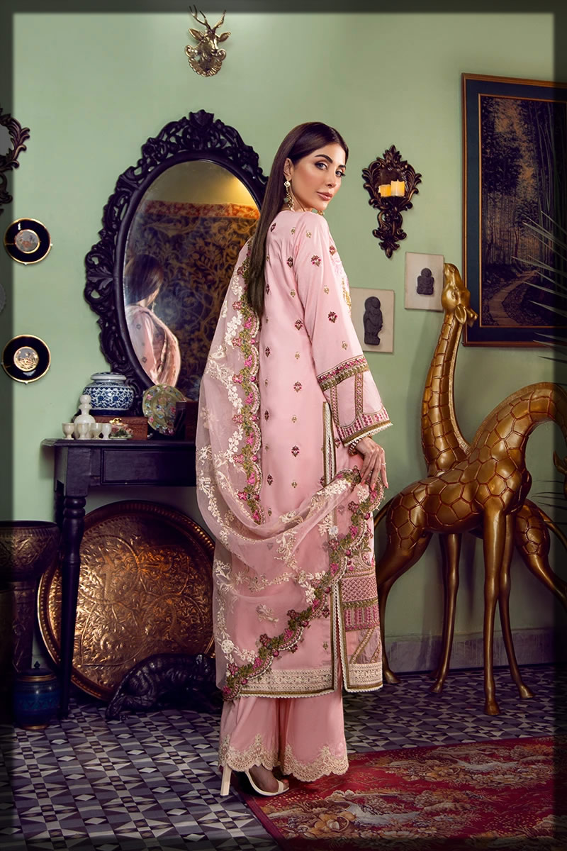 beautiful pink embroidered lawn suit