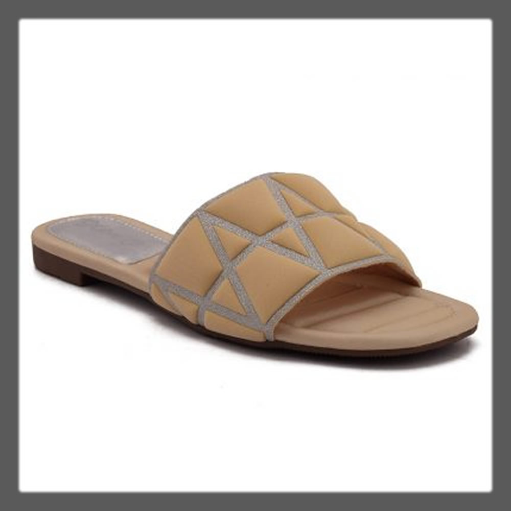 beige casual slippers