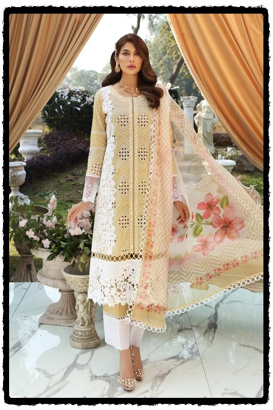 beige embroidered lawn dress