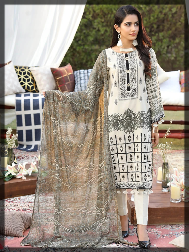 black and white embroidered lawn suit