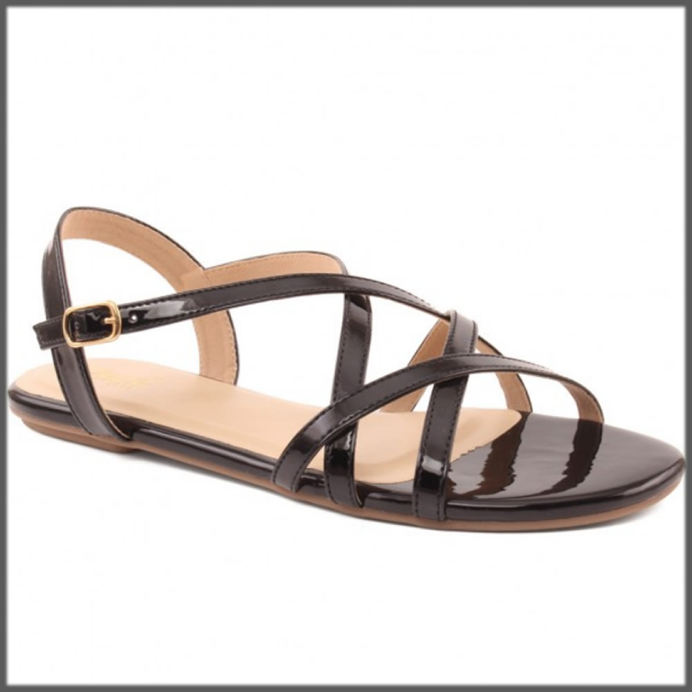 black cross strap sandals