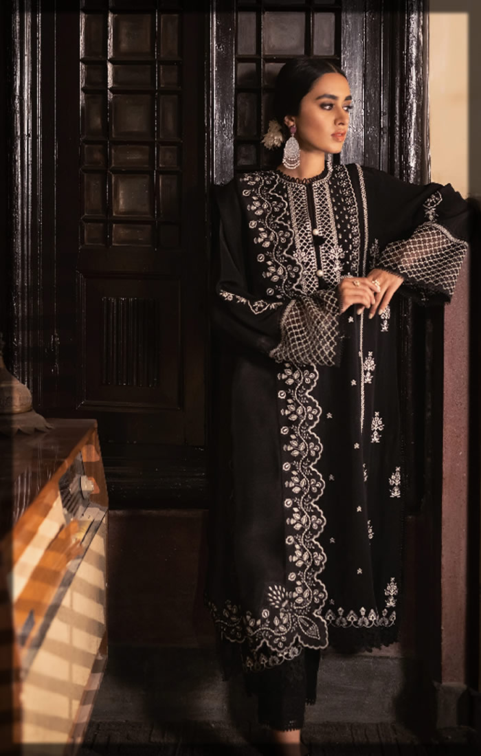 black embroidered lawn suit