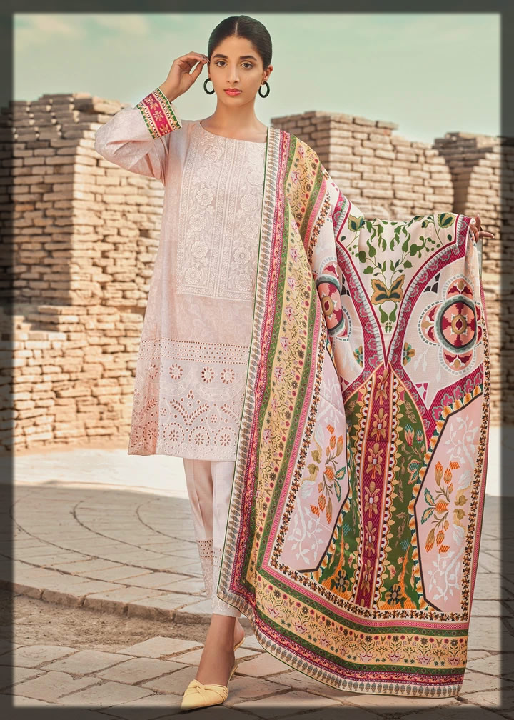 blissful tea pink embroidered lawn suit