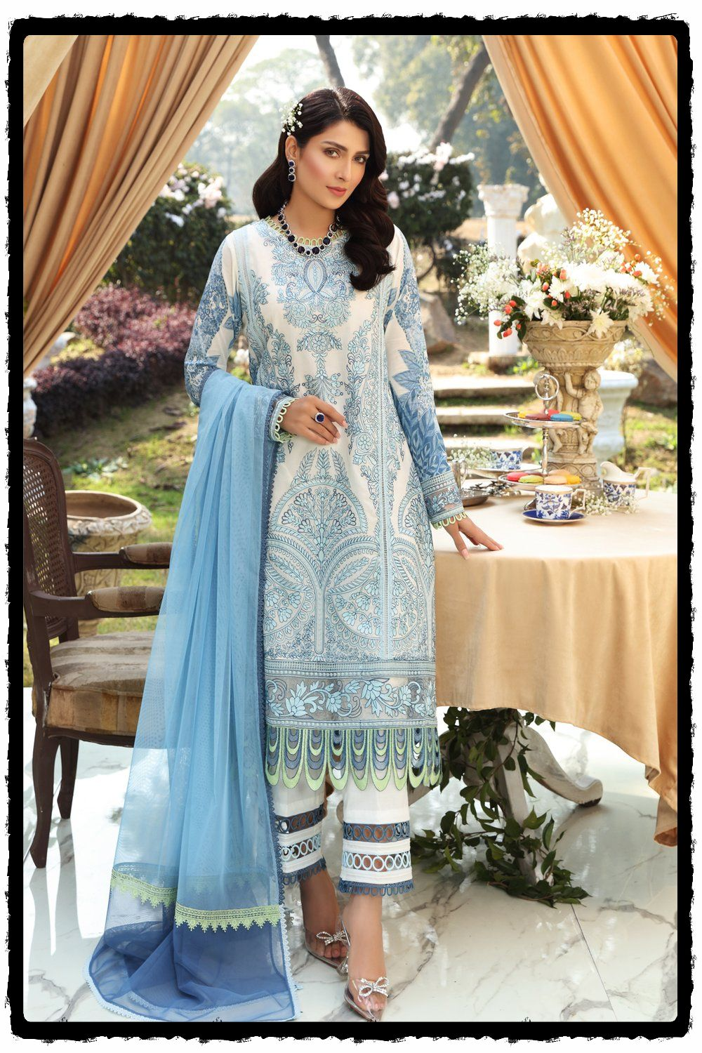 blue and white lawn dress