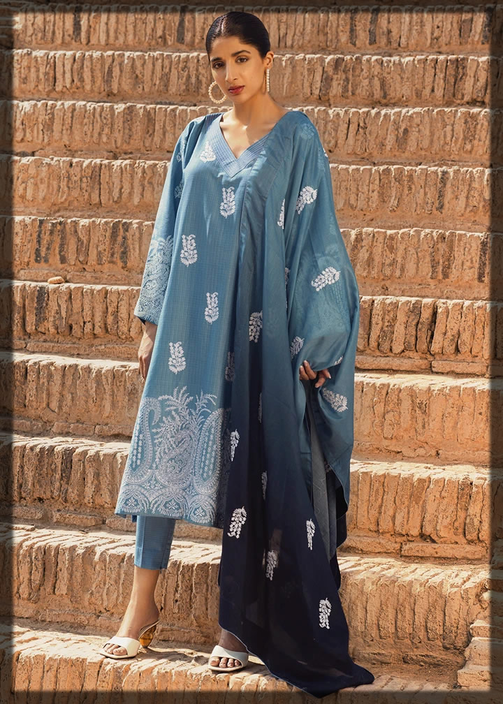 blue embroidered premium lawn suit