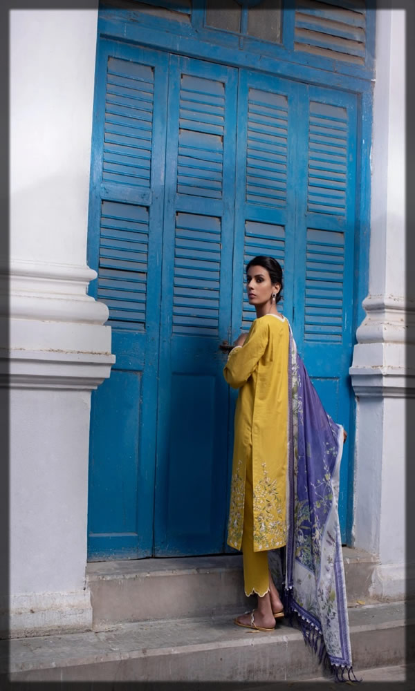 bright yellow embroidered lawn dress
