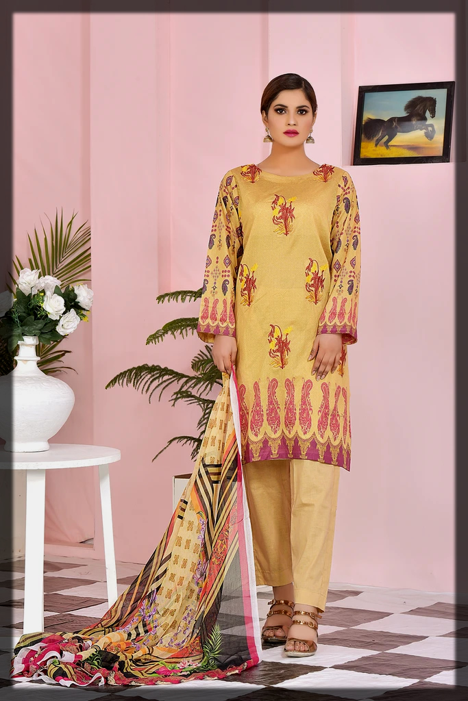 bright yellow summer lawn suit