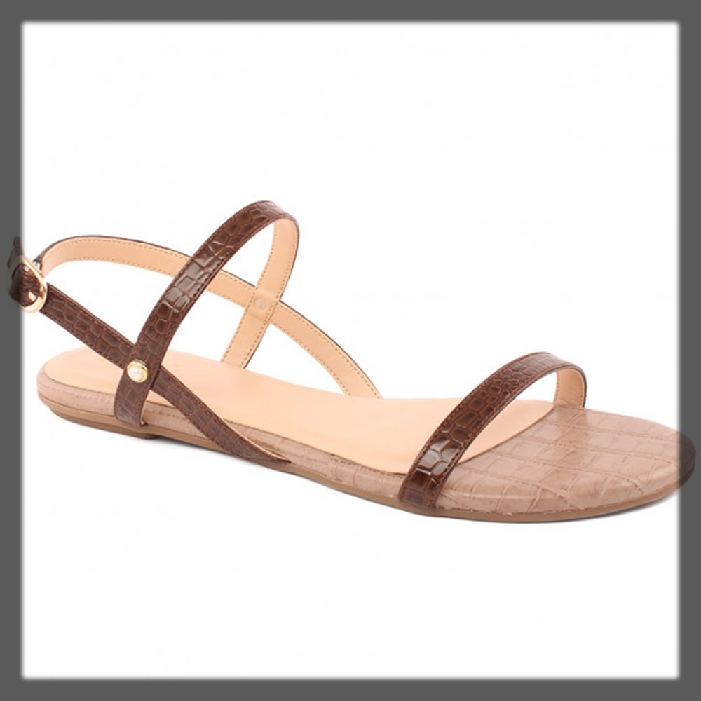 brown buckled flat sandals