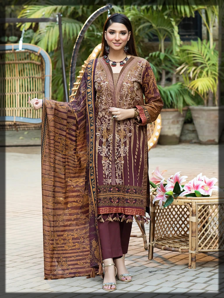 brown embroidered lawn dress for summer