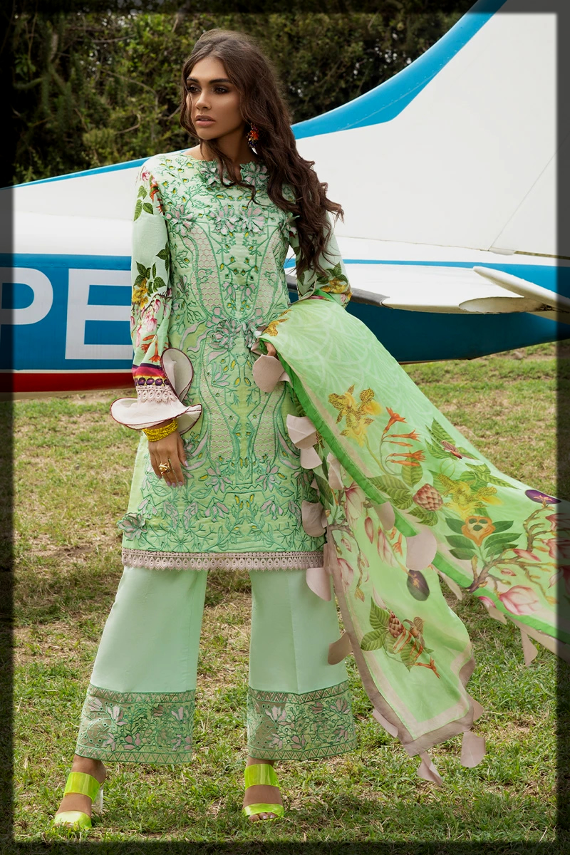 chikan embroidered digital printed suit for women