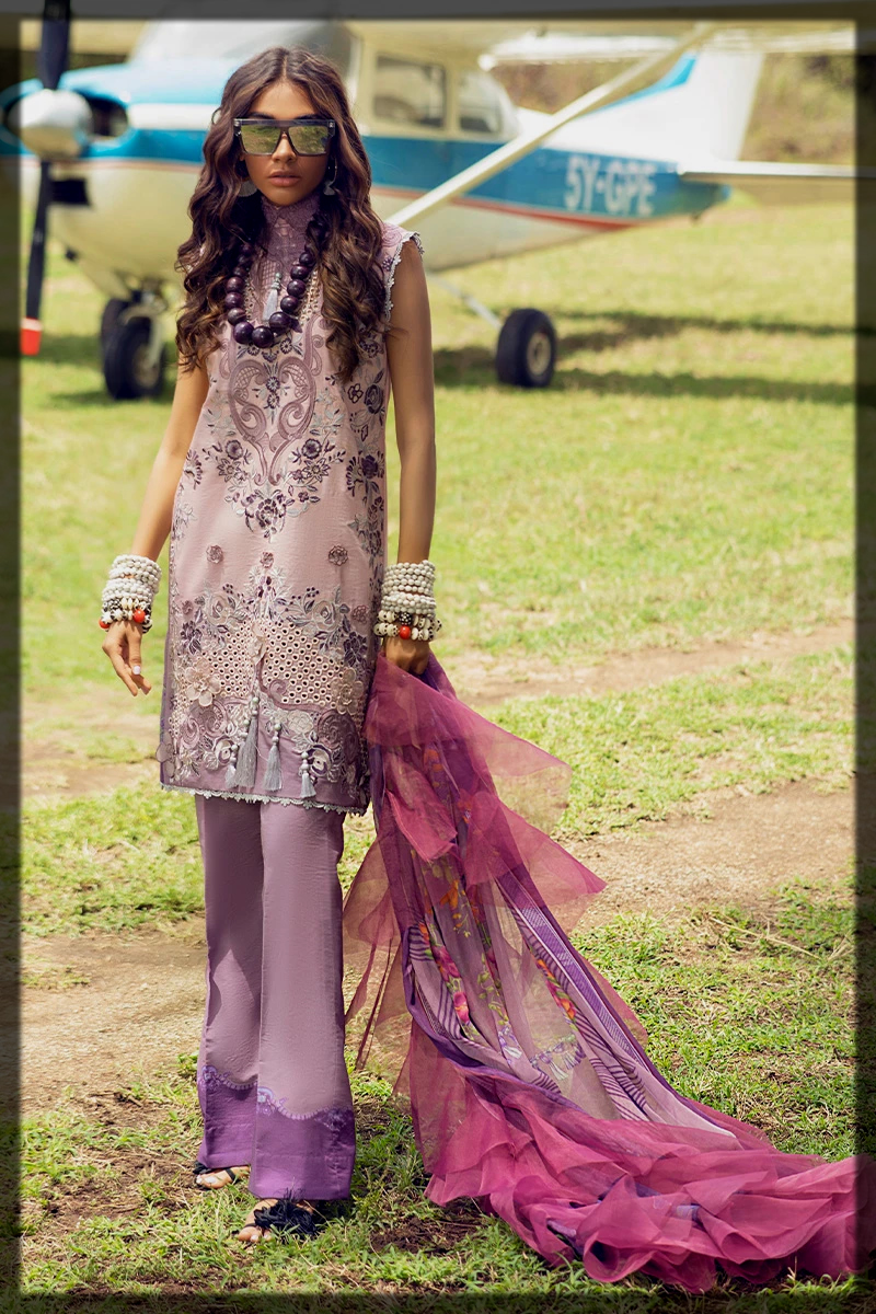 chikan embroidered digital printed suit
